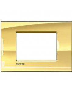 BTicino LNA4803OA LivingLight - placca 3 moduli oro freddo