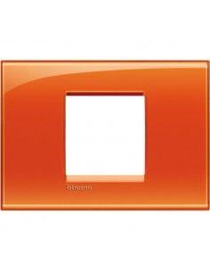 BTicino LNA4819OD LivingLight - placca 2 moduli centrati arancio