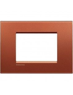 LivingLight - placca Silk quadra in metallo 3 posti brick