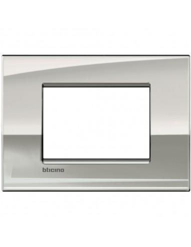 BTICINO LIVINGLIGHT AIR LNC4803NK PLACCA 3 MODULI NICHEL SATINATO