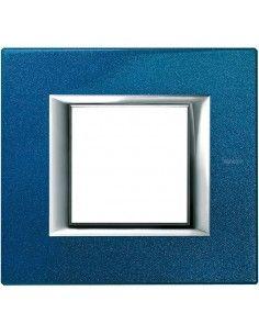BTicino HA4802BM Axolute - placca 2 moduli blu meissen