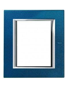 BTicino HA4826BM Axolute - placca 3+3 moduli blu meissen