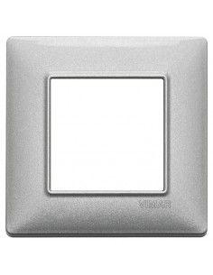 Vimar 14642.71 Plana - placca 2 moduli argento metallizzato