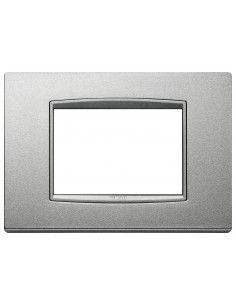 Vimar 20653.N13 Eikon Total Look - placca 3 moduli argento matt