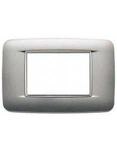 Vimar 20683.N13 Eikon Total Look - placca 3 moduli argento matt