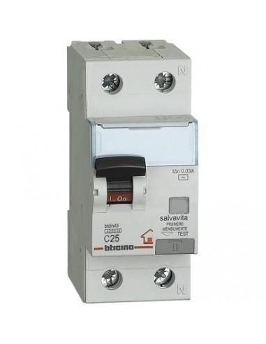 BTicino GC8813AC25 Btdin - magnetotermico differenziale AC 1P+N 25A 30mA
