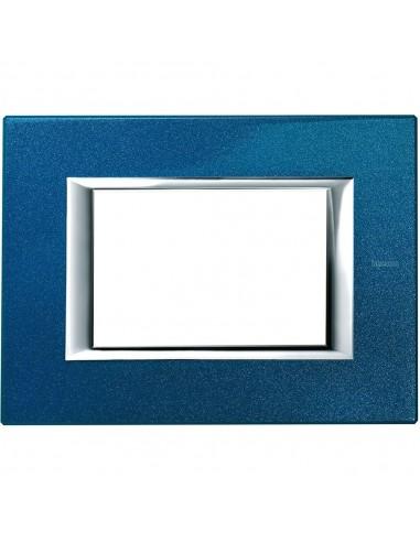 Axolute - placca rettangolare Laccati in metallo 3 posti blu meissen