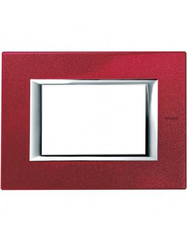 Axolute - placca rettangolare Laccati in metallo 3 posti rosso china