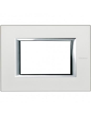 Axolute - placca rettangolare Anodizzati in metallo 3 posti argento