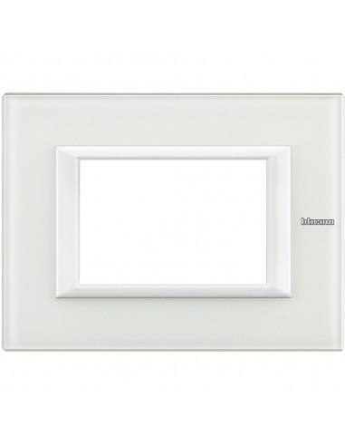 Axolute - placca rettangolare Bianchi 3 posti vetro bianco