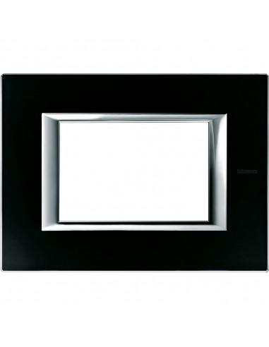 Axolute - placca rettangolare Vetri in vetro 3 posti colore nero notte