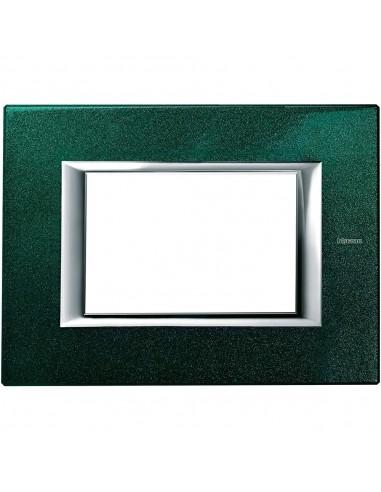 Axolute - placca rettangolare Laccati in metallo 3 posti verde sevres
