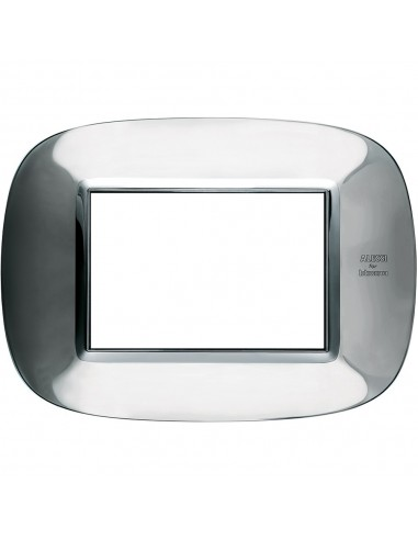 Axolute - placca ellittica Acciaio Alessi in metallo 3 posti colore inox lucido alessi