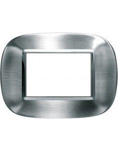 Axolute - placca ellittica Acciaio Alessi in metallo 3 posti colore inox spazzolato alessi