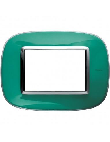 Axolute - placca ellittica Liquidi in policarbonato 3 posti colore verde liquid