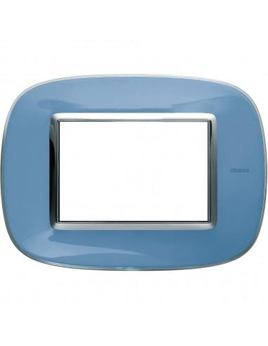 Axolute - placca ellittica Liquidi in policarbonato 3 posti colore azzurro liquid