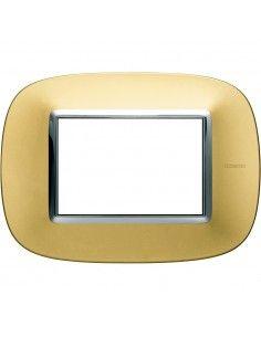 Axolute - placca ellittica Lucenti in metallo 3 posti colore oro satinato