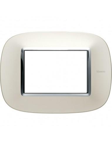 Axolute - placca ellittica Lucenti in metallo 3 posti colore argento satinato