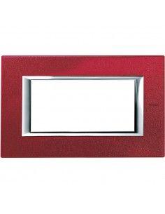 Axolute - placca rettangolare Laccati in metallo 4 posti rosso china