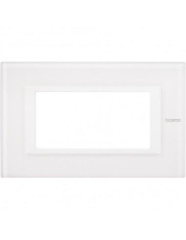 Axolute - placca rettangolare Bianchi 4 posti vetro bianco