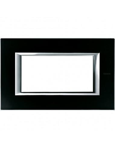 Axolute - placca rettangolare Vetri in vetro 4 posti colore nero notte