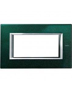 Axolute - placca rettangolare Laccati in metallo 4 posti verde sevres