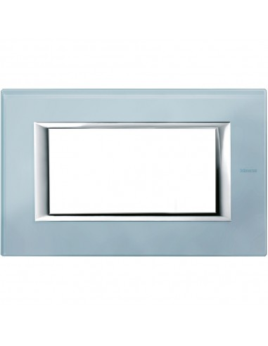 Axolute - placca rettangolare Vetri in vetro 4 posti colore azzurro sera