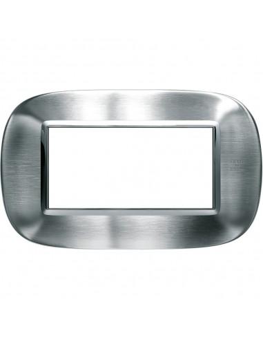 Axolute - placca ellittica Acciaio Alessi in metallo 4 posti colore inox spazzolato alessi