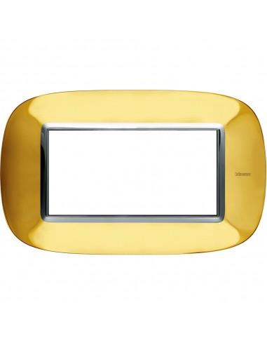 Axolute - placca ellittica Lucenti in metallo 4 posti colore oro lucido