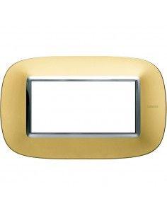 Axolute - placca ellittica Lucenti in metallo 4 posti colore oro satinato