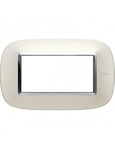 Axolute - placca ellittica Lucenti in metallo 4 posti colore argento satinato