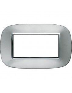 Axolute - placca ellittica Metallizzati in metallo 4 posti colore alluminio axolute