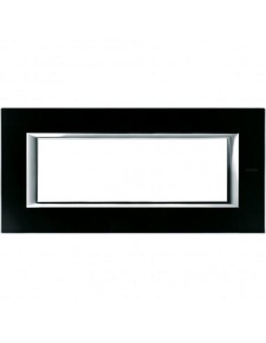 Axolute - placca rettangolare Vetri in vetro 6 posti colore nero notte