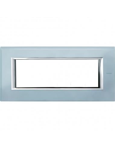 Axolute - placca rettangolare Vetri in vetro 6 posti colore azzurro sera
