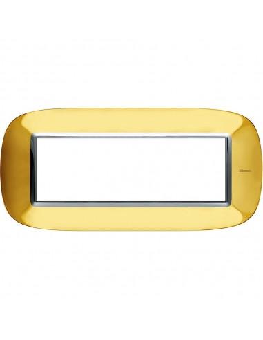 Axolute - placca ellittica Lucenti in metallo 6 posti colore oro lucido