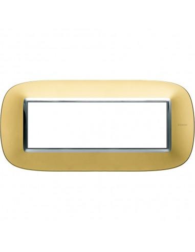 Axolute - placca ellittica Lucenti in metallo 6 posti colore oro satinato