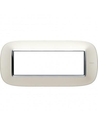 Axolute - placca ellittica Lucenti in metallo 6 posti colore argento satinato