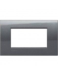 LivingLight - placca Metals Quadra in metallo 4 posti acciaio