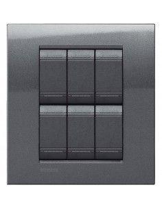 LivingLight - placca Metals Quadra in metallo 3+3 posti acciaio