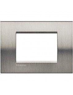 BTicino LNA4803ACS LivingLight - placca in metallo 3 posti acciaio