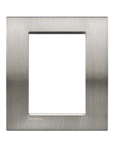 BTicino LNA4826ACS LivingLight - placca in metallo 3+3 posti acciaio