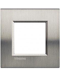 BTicino LNA4802ACS LivingLight - placca in metallo 2 posti acciaio