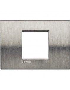 BTicino LNA4819ACS LivingLight - placca in metallo 2 posti centrati acciaio