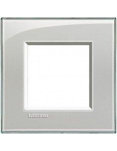BTicino LNA4802KG LivingLight - placca 2 moduli grigio ghiaccio