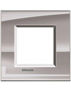 BTicino LNA4802NS LivingLight - placca 2 moduli nichel