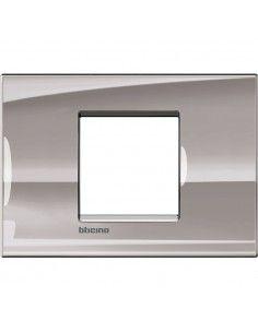 BTicino LNA4819NS LivingLight - placca 2 moduli centrati nichel