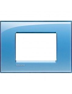 BTicino LNA4803AD LivingLight - placca 3 moduli azzurro