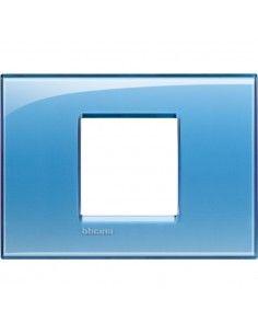 BTicino LNA4819AD LivingLight - placca 2 moduli centrati azzurro