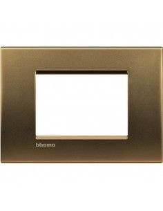 LivingLight - placca Metals quadra in metallo 3 posti bronzo